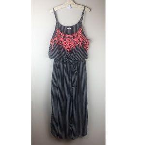 Pants - Eyeshadow Women's Romper Black Pink Striped Med